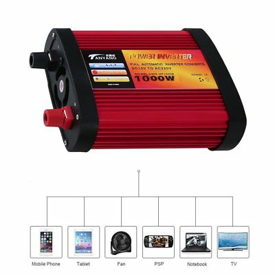 1000W Power Inverter DC 12V to AC 240V with 2x Charging USB Ports+AC Outlet QW