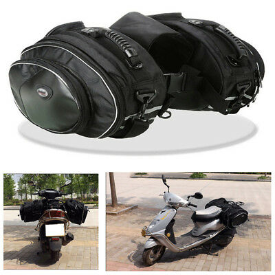 Pair Carbon Fibre Look Motorcycle Saddle Bags Luggage Pannier Helmet Bags 36-58L