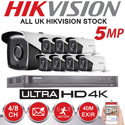 Hikvision 4CH 8CH DVR System 4K EXIR 5MP Bullet CCTV Camera Security Home Kit UK