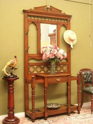 ANTIQUE OAK MIRRORED 1 DRAWER HALL / HAT STAND ~ BEAUTIFUL TILES, 6 HOOKS c1900s