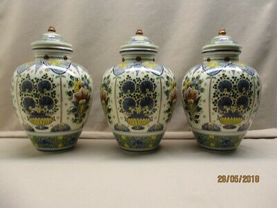 3 Antique Gouda vases marked Zuid-Holland with identical Delft polychrome decor.
