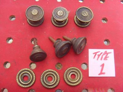 Set of 6 vintage brass drawer  cupboard knobs / handles Type 1