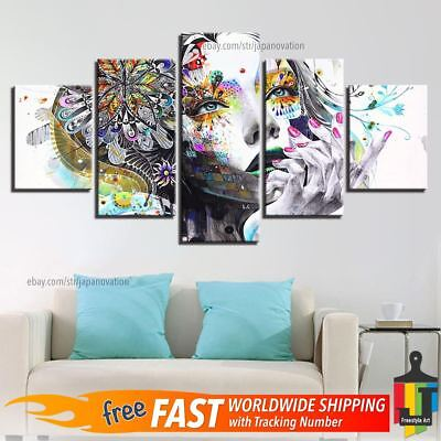 5 Pieces Home Decor Canvas Print Painting Wall Art Abstract Psychedelic Woman