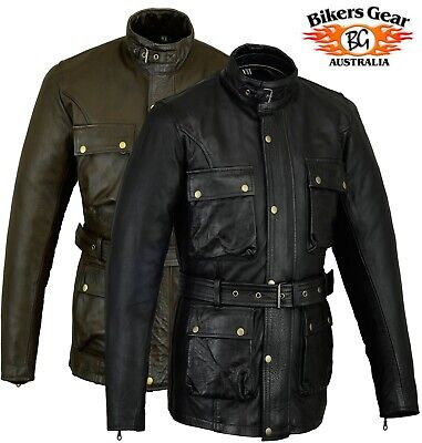 Australian Bikers Gear Vintage retro looked hand Waxed Leather Motorcycle Jacket