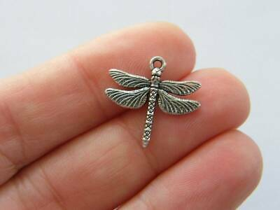 BULK 50 Butterfly charms antique silver tone A322
