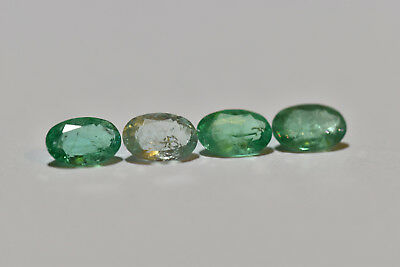 Emerald 1.75ct parcel of four oval cut natural Emeralds