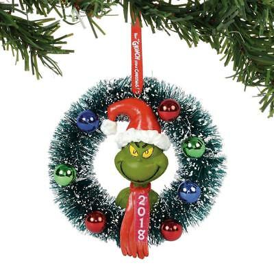 Department 56 Grinch 2018 Dated Wreath Hanging Ornament New