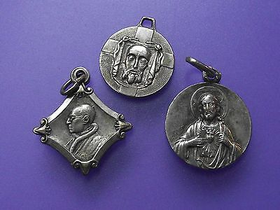 Group of Three French  Vintage Catholic Silver Pendants. AH6492.