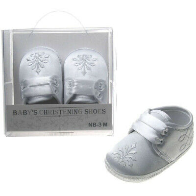 New pair of christening shoes boys white satin soft sole baptism cross gift box