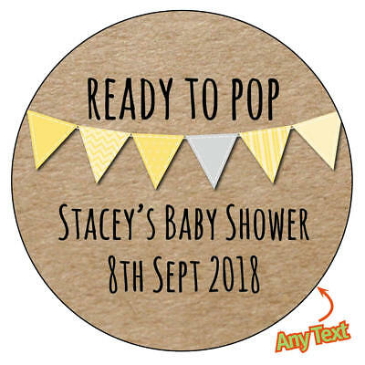 24 x Personalised BABY SHOWER Yellow Pink Blue Bunting Stickers Christening -223