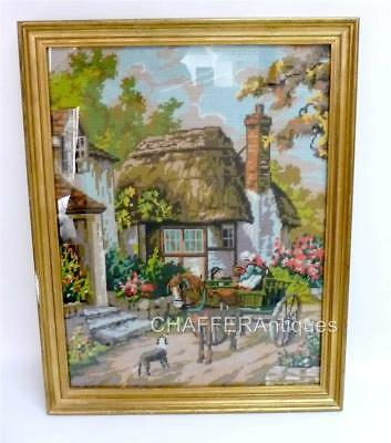 Pictorial Needlepoint Tapestry of a Medieval Thatched Cottage