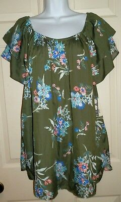 0835ef123a7 New Womens 1X 16W-18W Peasant Top Off the Shoulder Woven Green Floral Terra  Sky