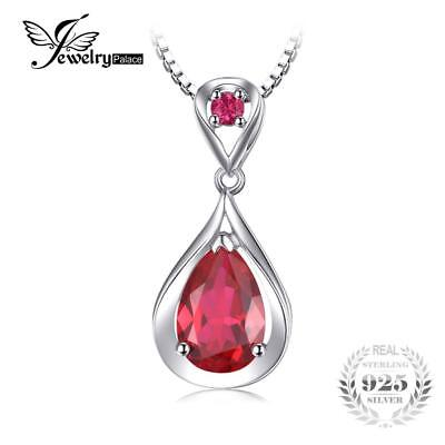 Water Drop 4ct Created Red Ruby Pendant Anniversary 925 Sterling Silver