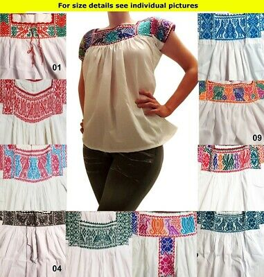 Authentic Handmade embroidered ethnic Mexican blouse Nahuatl Stretch