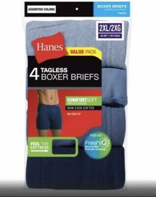 4 pack hanes mens boxer briefs Choose Your Size
