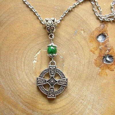 Round Celtic Cross Style Necklace - Silver-tone Pendant with Green Glass Bead