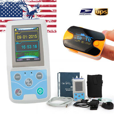 Contec Ambulatory ABMP Holter Monitor Machine Monitoring Device+ Oximeter USPS