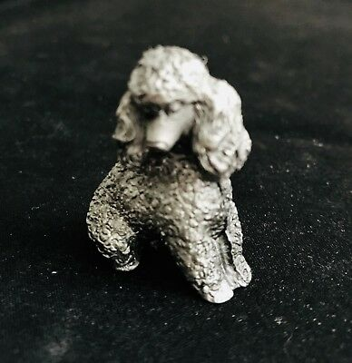 Fine Pewter Silver French Poodle Dog Puppy Highly Detailed Figurine Statue