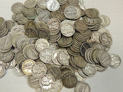 10 Mercury Dimes 1916-1945 , 90% Silver Coin Lot , Circulated, Choose How Many