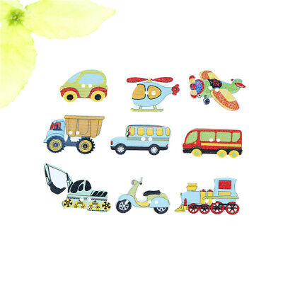 50pcs Wood Mixed Cars And Airplane Sewing Children Buttons Scrapbook Crafts Y/