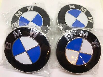 4 x 68mm BMW Wheel Center Hub Cap Emblem Logo Trims E30,E36,E46,E53,E60,E92 Blue