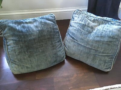 Rare Pair Antique Primitive Triangle Back Lumbar French Blue Pillows