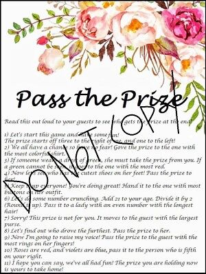 floral bridal shower pass the prize printable game