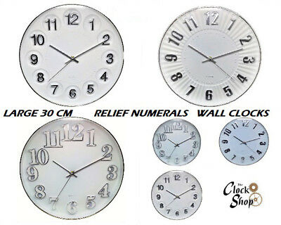 Large Silver Or Gold Rimmed Casing Large Bold Relief Numerals 30 CM Wall Clock