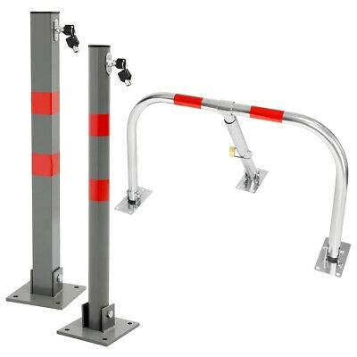 Parking post barrier pole + keys round square car safety lock stand folding 70cm