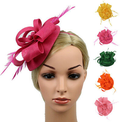 Vintage Women Feather Hair Fascinator Hat Kentucky Bride Hair Clip Headband