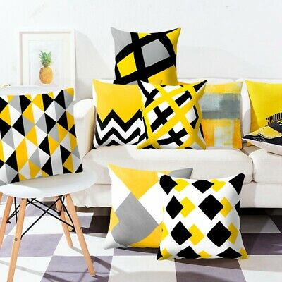 Yellow Geometric Cushion Cover Home Decor Sofa Pillow Cases Peach Skin Cashmere