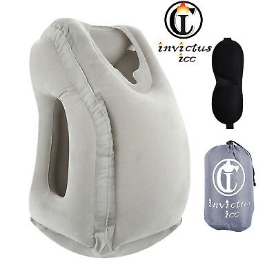 Travel Neck Pillow Inflatable Airplanes Flight Cervical Support Head Rest NEW