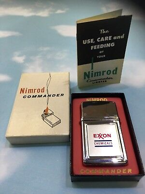 Vintage EXXON CHEMICALS LIGHTER  Nimrod Commander Case & Booklet   NEVER Touched