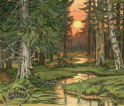 Green Forest Stream Trees Moon by Ivan Bilibin
