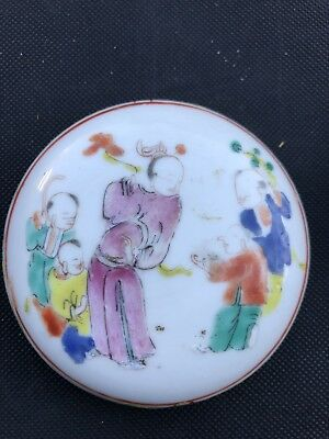 Antique Chinese Porcelain Famille Rose Round Ink/Ointment/Paste Box Early 18C