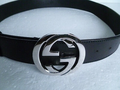 9ef09a4ef Gucci Silver Interlocking G Buckle Black Leather Belt (90 cm - 36