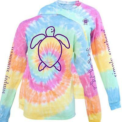 Simply Southern Womens Long Sleeve Save The Turtles Tie Dye T-Shirt