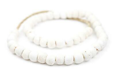 White Round Sandcast Beads 14mm Ghana African Glass Large Hole 27 Inch Strand