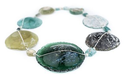 Super Jumbo Roman Glass Beads #3814 44mm Afghanistan Green Flat Large Hole