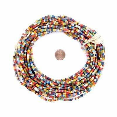 Rainbow Medley Sandcast Seed Beads 4mm Ghana African Multicolor Cylinder Glass