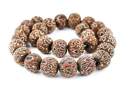 Red Antique-Style Java Eye Glass Bead Single Bead, 20mm Indonesia Multicolor