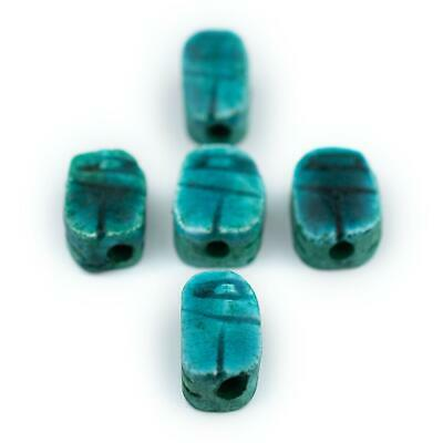 Turquoise Egyptian Soapstone Scarab Beads Set of 5 8mm Middle East Blue Tabular