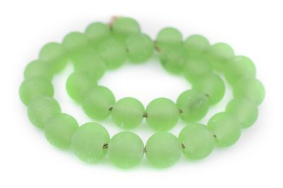 Green Frosted Sea Glass Beads 18mm Round Large Hole 24 Inch Strand