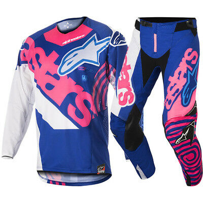 Alpinestars NEW Mx 2018 Techstar Venom Blue Pink Adults Motocross Gear Set