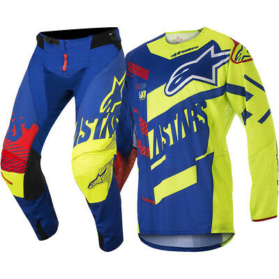 Alpinestars NEW Mx 2018 Techstar Screamer Blue Fluro Adults Motocross Gear Set
