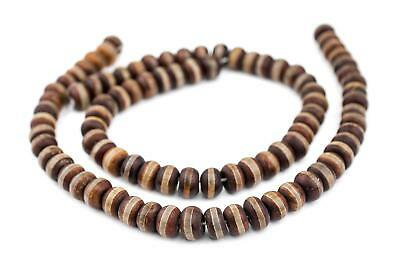 Premium Rondelle Striped Tibetan Agate Beads 8x12mm Brown Disk Gemstone