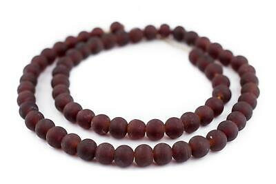 Dark Brown Frosted Sea Glass Beads 9mm Round Large Hole 24 Inch Strand