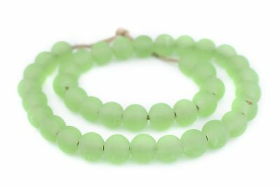 Green Frosted Sea Glass Beads 14mm Round Large Hole 24 Inch Strand