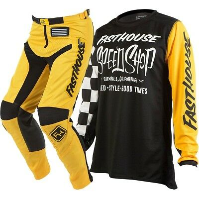 Fasthouse NEW Mx 2018 Speed Shop Grindhouse Black Yellow Motocross Gear Set