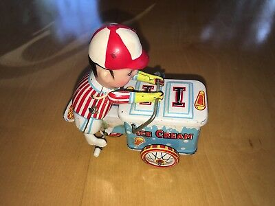 """Vintage Ice Cream Cart Tiny Wind-Up Toy Made in China 260 MS 405 Approx 4"""" Long"""